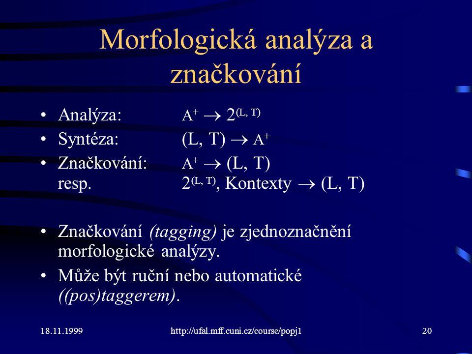 Morfologická analýza a značkování