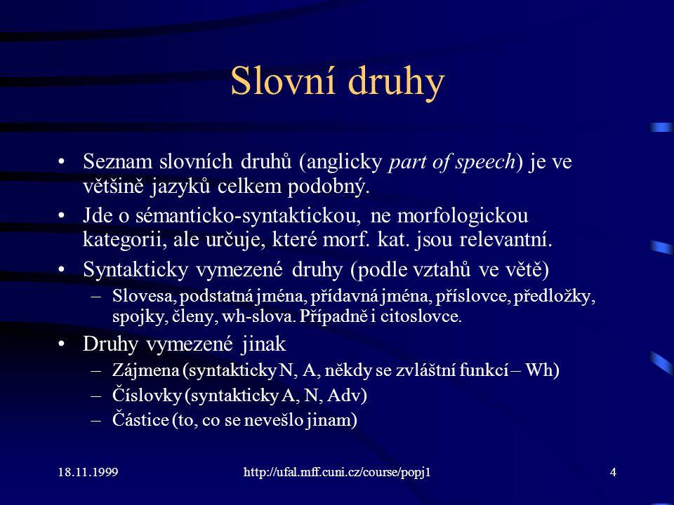 Slovní druhy Seznam slovních druhů (anglicky part of speech) je ve většině jazyků celkem podobný.