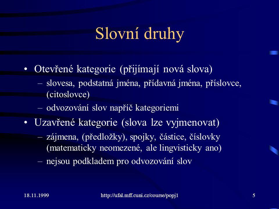 Slovní druhy Otevřené kategorie (přijímají nová slova)