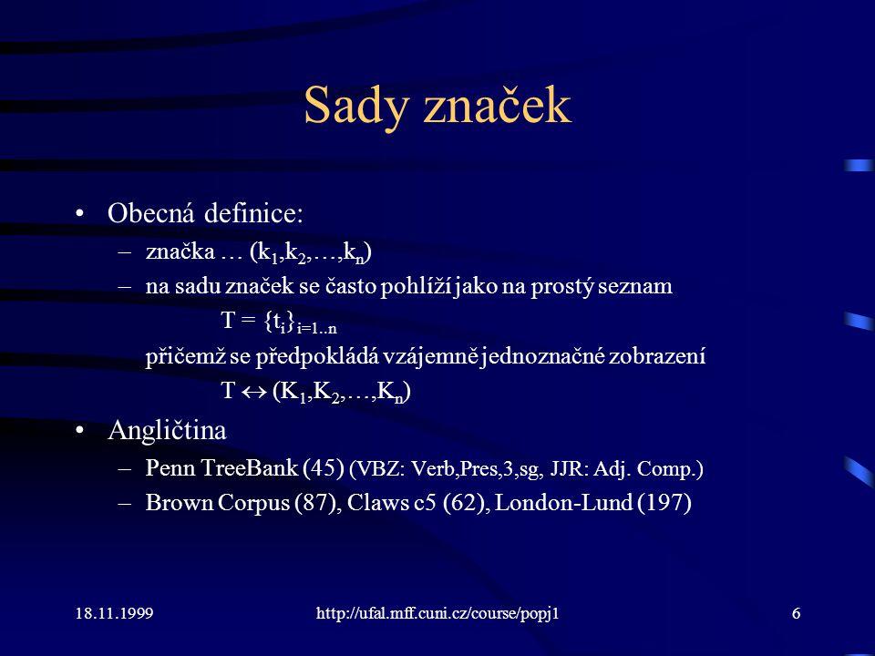 Sady značek Obecná definice: Angličtina značka … (k1,k2,…,kn)