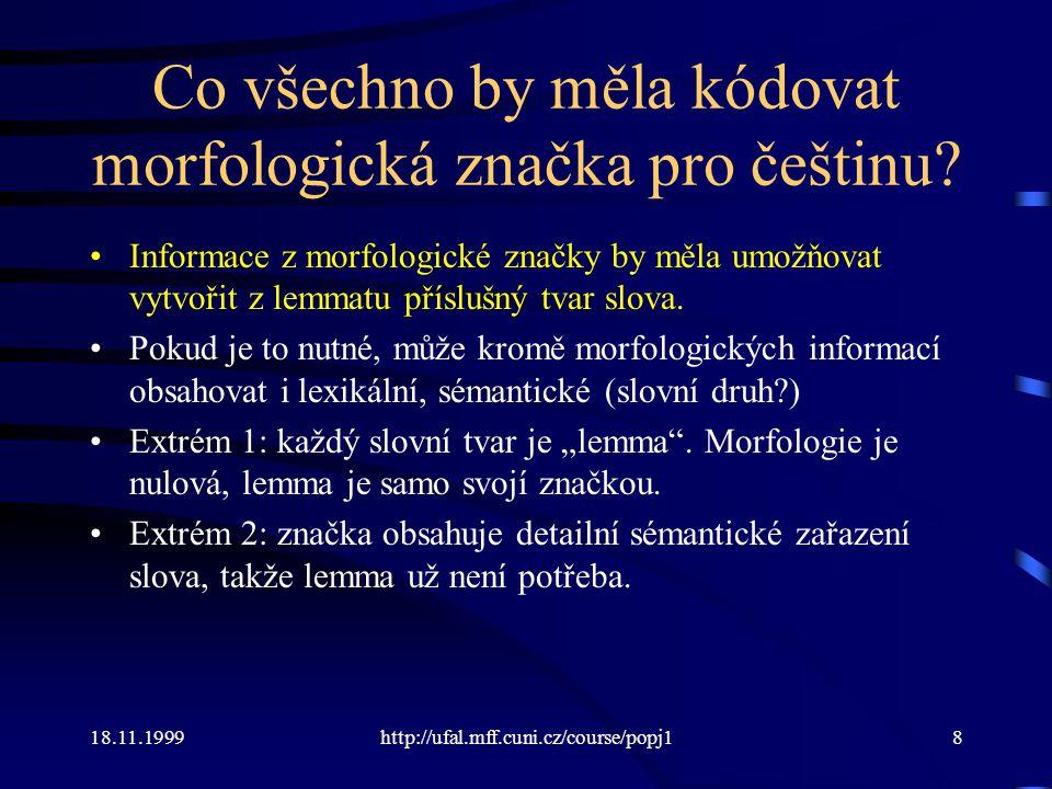 Co všechno by měla kódovat morfologická značka pro češtinu