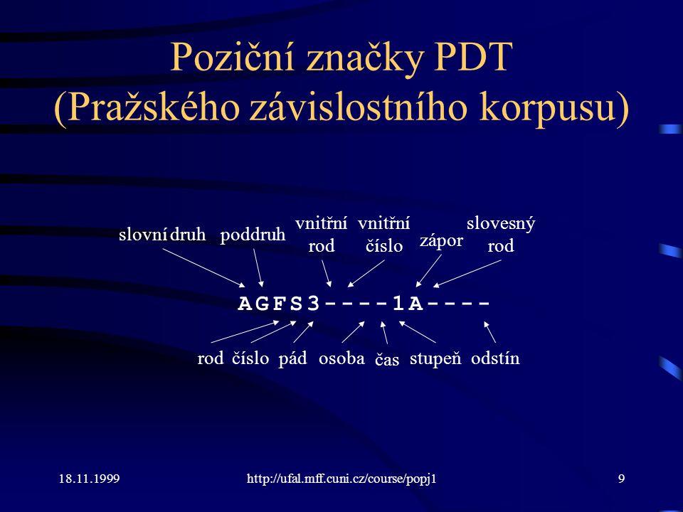 Poziční značky PDT (Pražského závislostního korpusu)