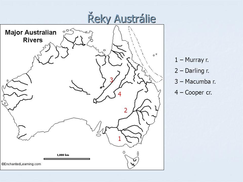 Řeky Austrálie 1 – Murray r. 2 – Darling r. 3 – Macumba r.