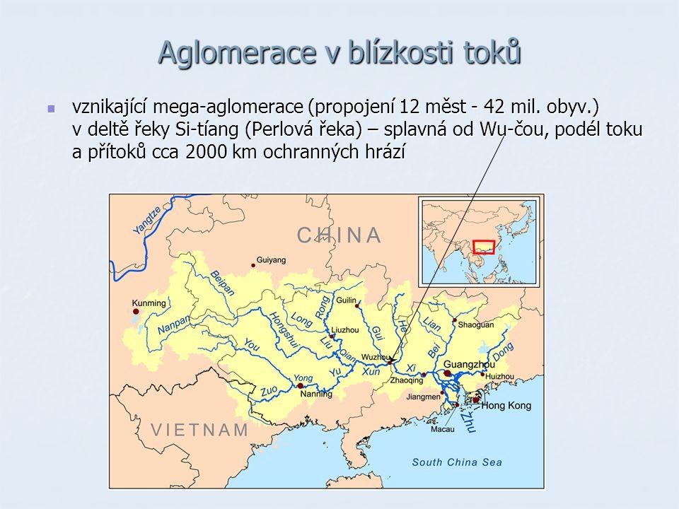 Aglomerace v blízkosti toků