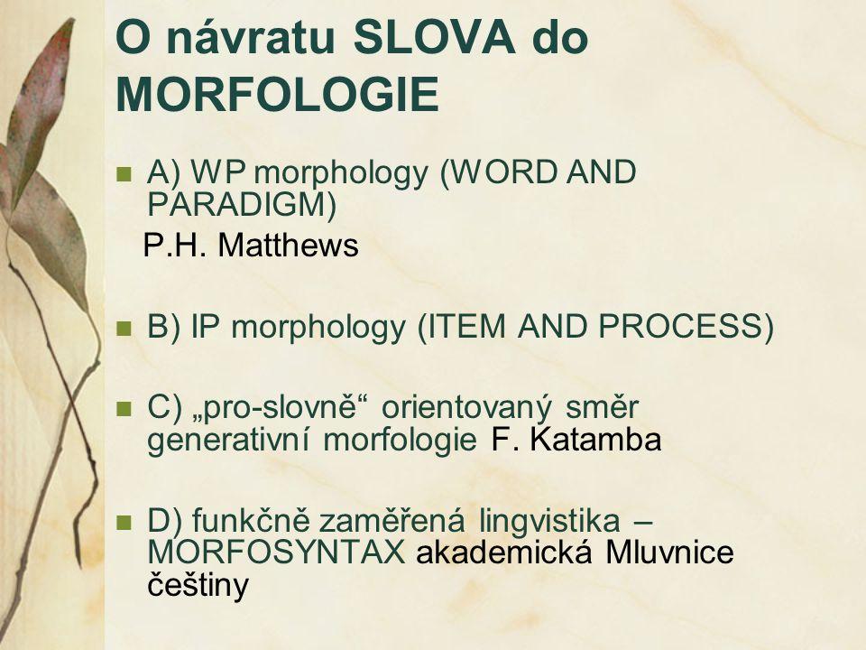 O návratu SLOVA do MORFOLOGIE