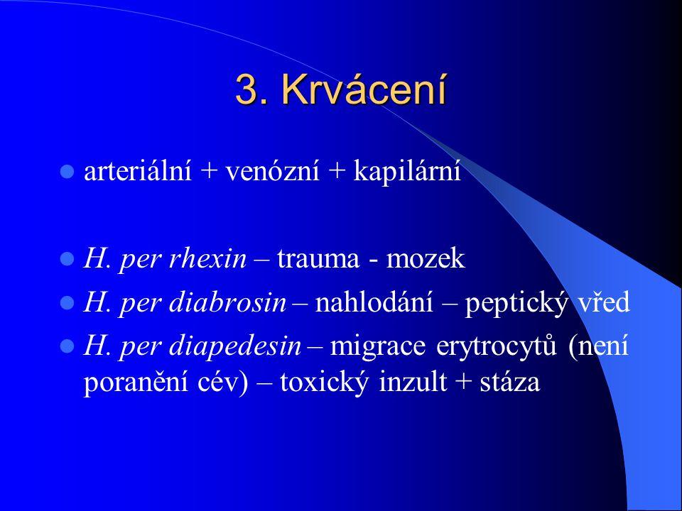 3. Krvácení arteriální + venózní + kapilární