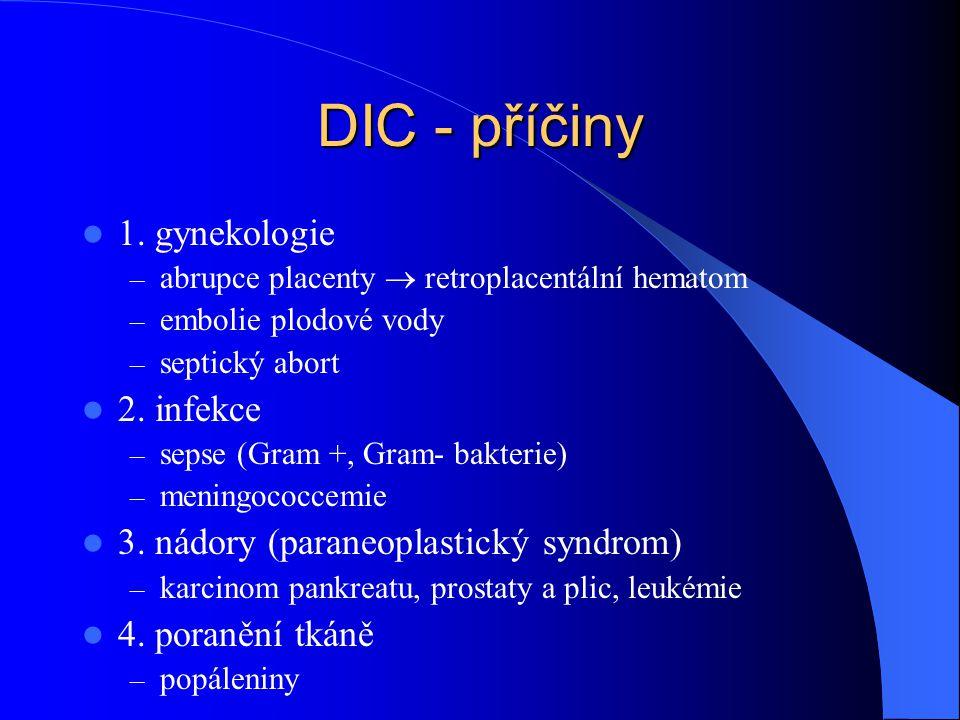 DIC - příčiny 1. gynekologie 2. infekce