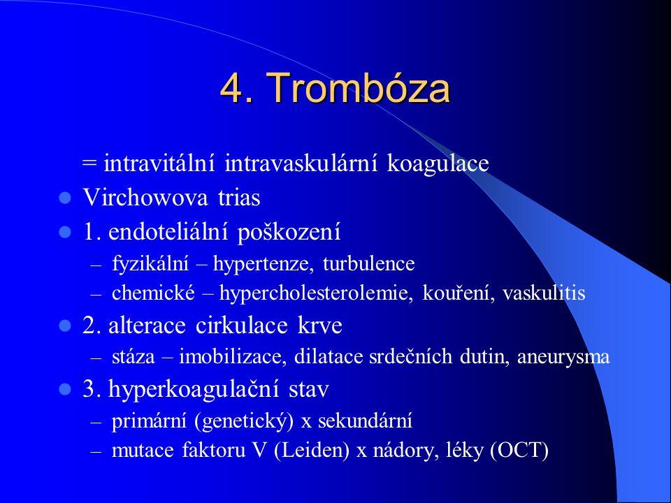 4. Trombóza = intravitální intravaskulární koagulace Virchowova trias
