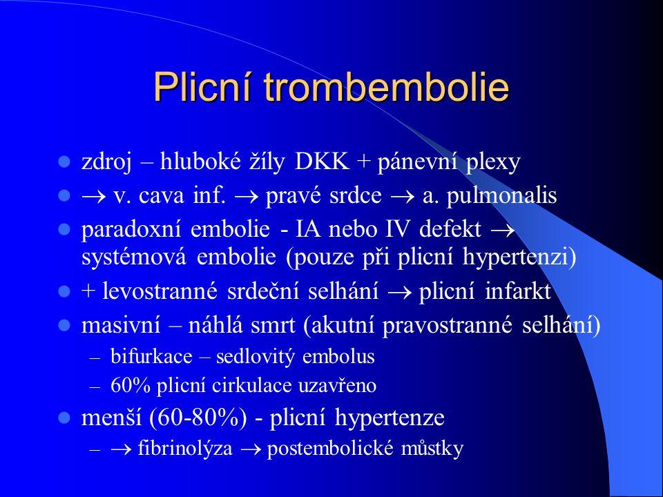 Plicní trombembolie zdroj – hluboké žíly DKK + pánevní plexy