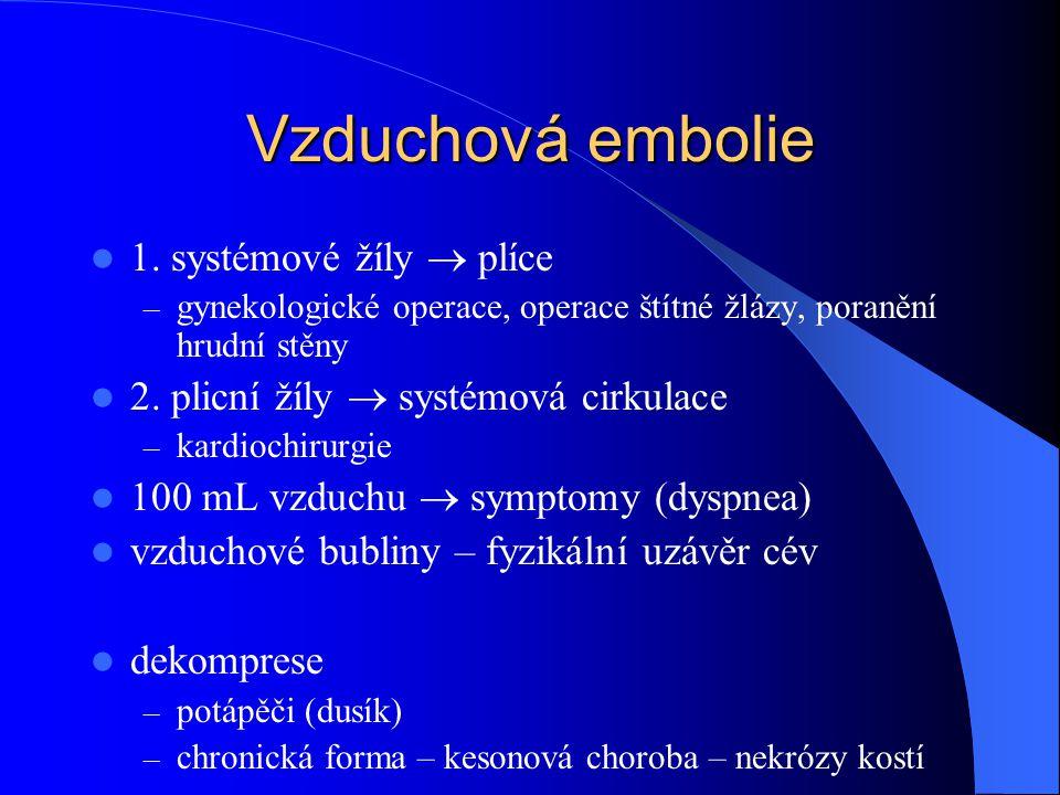 Vzduchová embolie 1. systémové žíly  plíce