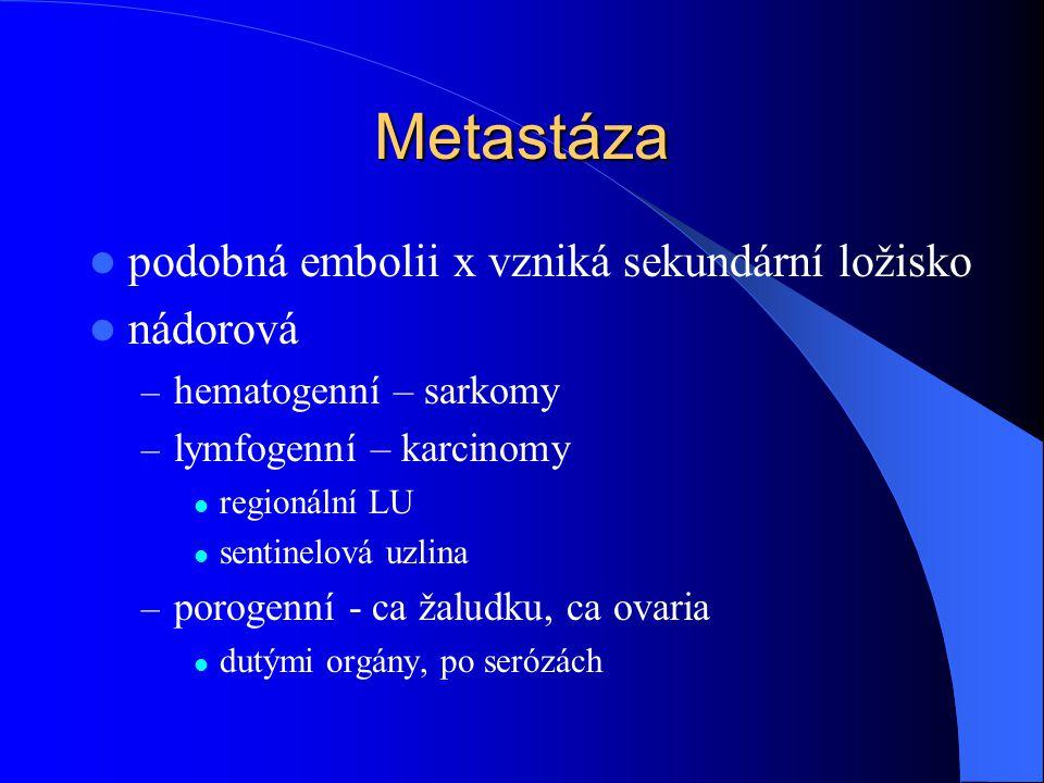 Metastáza podobná embolii x vzniká sekundární ložisko nádorová