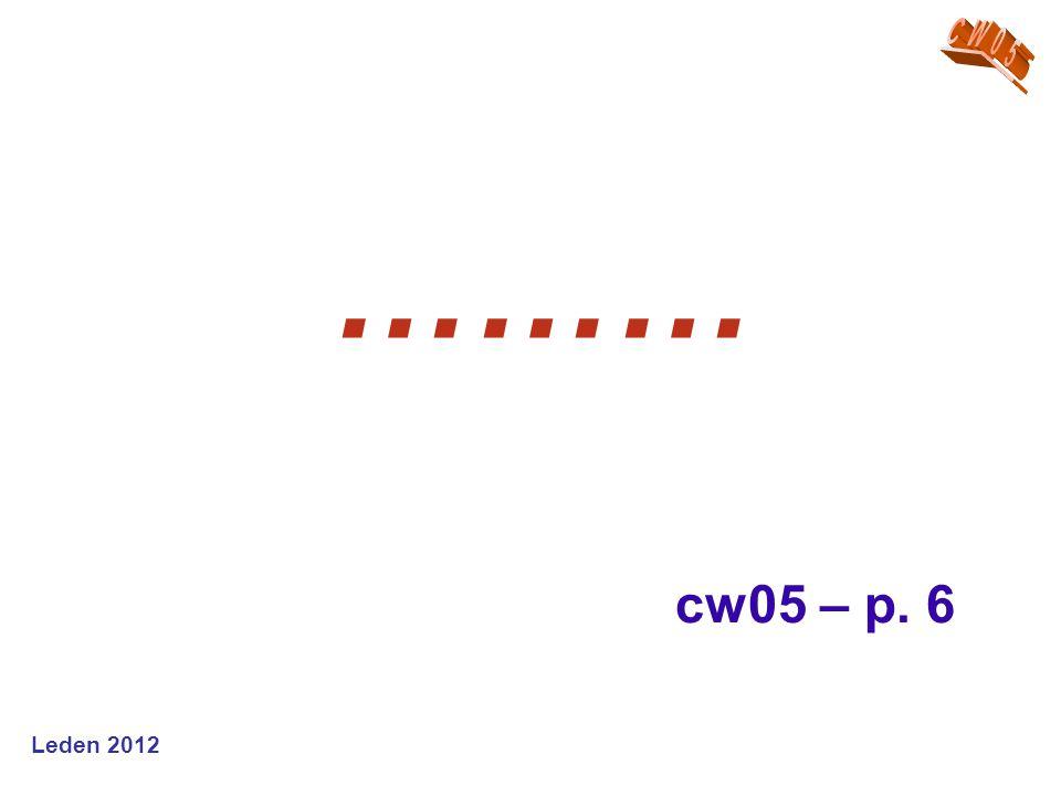 CW05 ……… cw05 – p. 6 Leden 2012