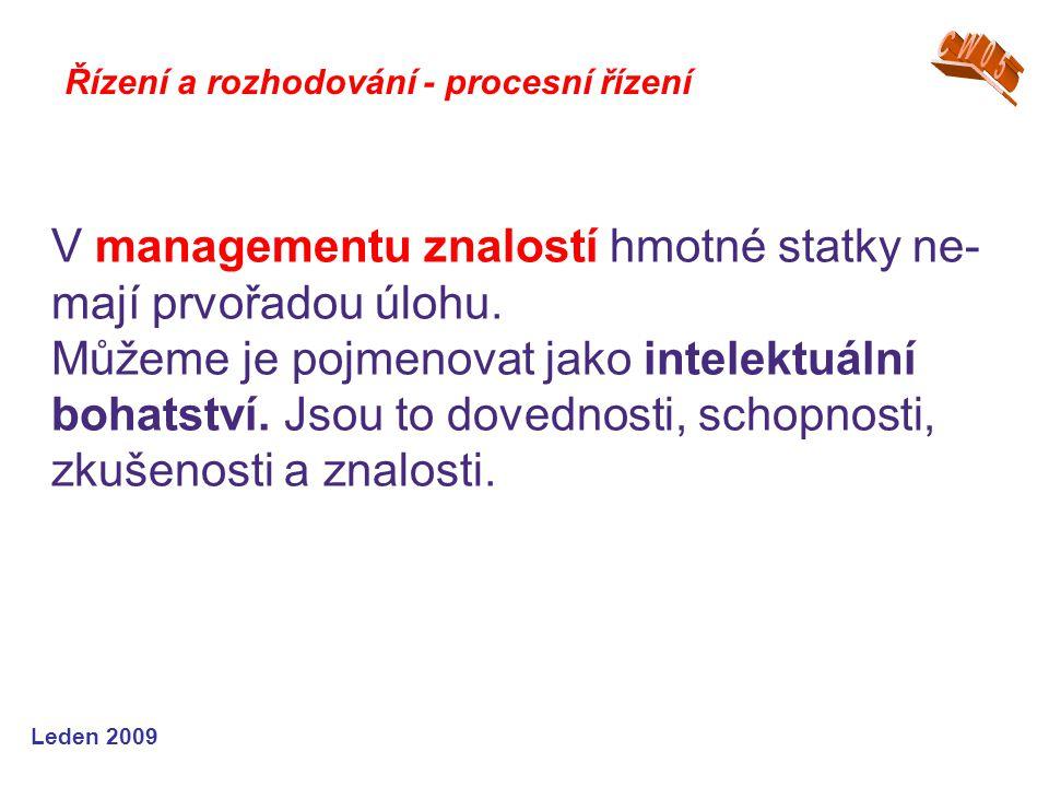V managementu znalostí hmotné statky ne-mají prvořadou úlohu.