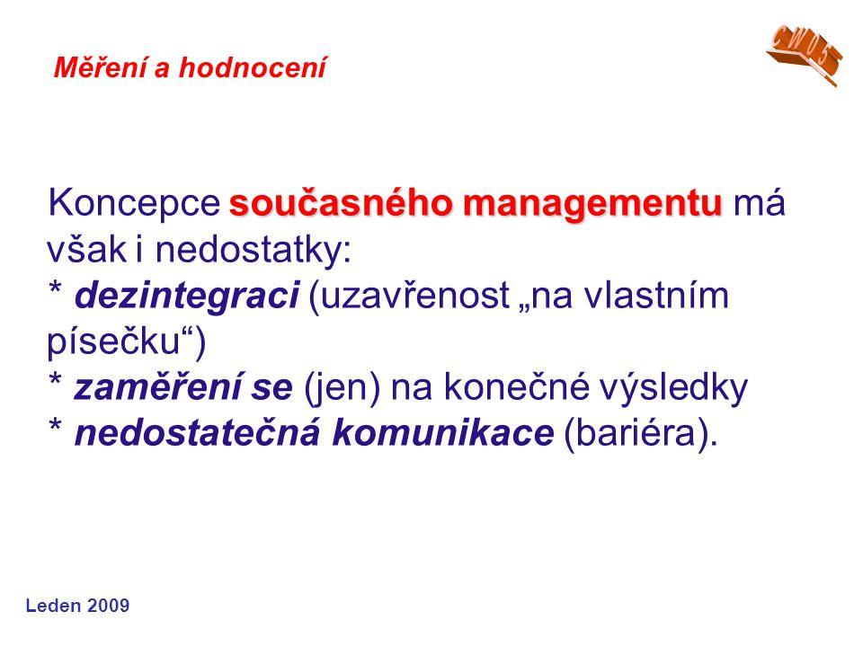 Koncepce současného managementu má však i nedostatky: