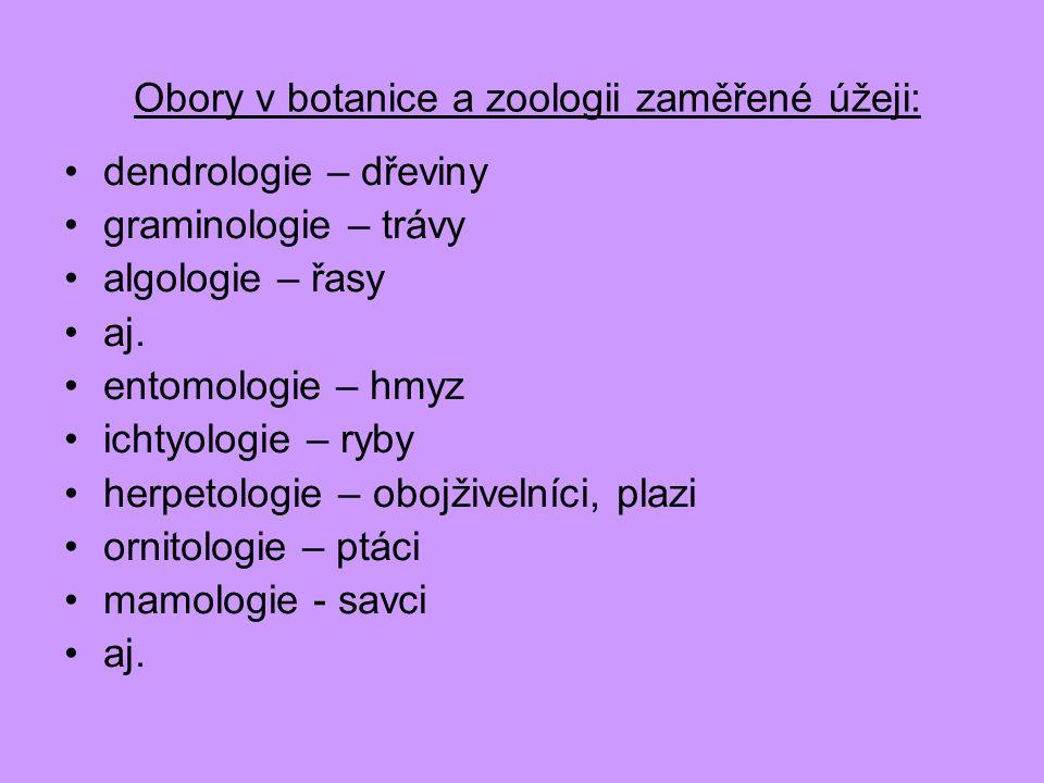 Obory v botanice a zoologii zaměřené úžeji:
