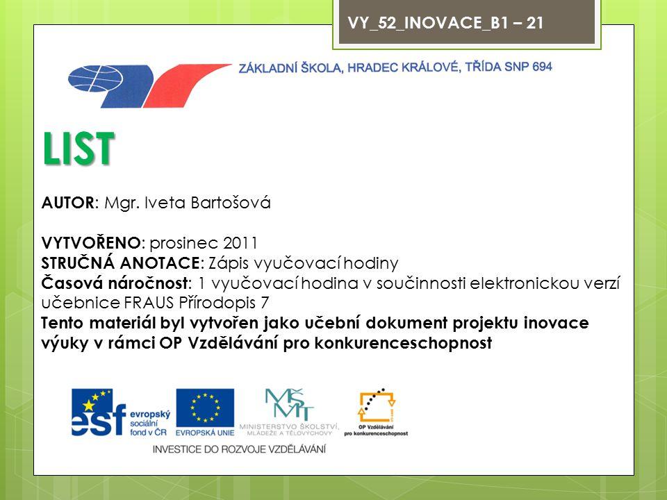 LIST VY_52_INOVACE_B1 – 21 AUTOR: Mgr. Iveta Bartošová