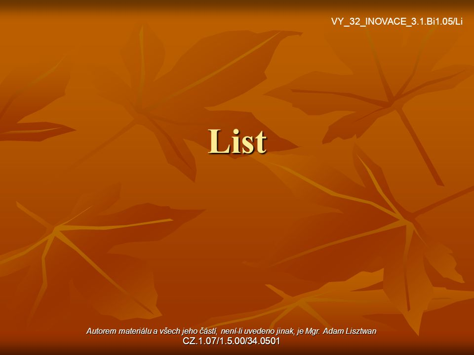 List VY_32_INOVACE_3.1.Bi1.05/Li
