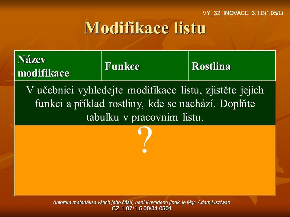 Modifikace listu Název modifikace Funkce Rostlina cibule zásobní