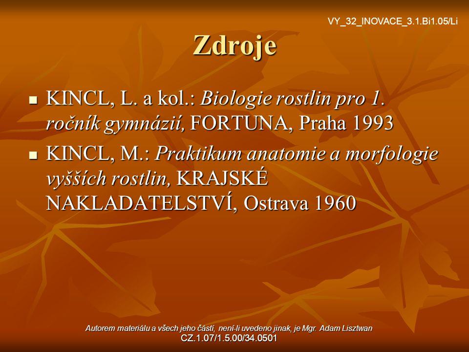 Zdroje VY_32_INOVACE_3.1.Bi1.05/Li. KINCL, L. a kol.: Biologie rostlin pro 1. ročník gymnázií, FORTUNA, Praha 1993.