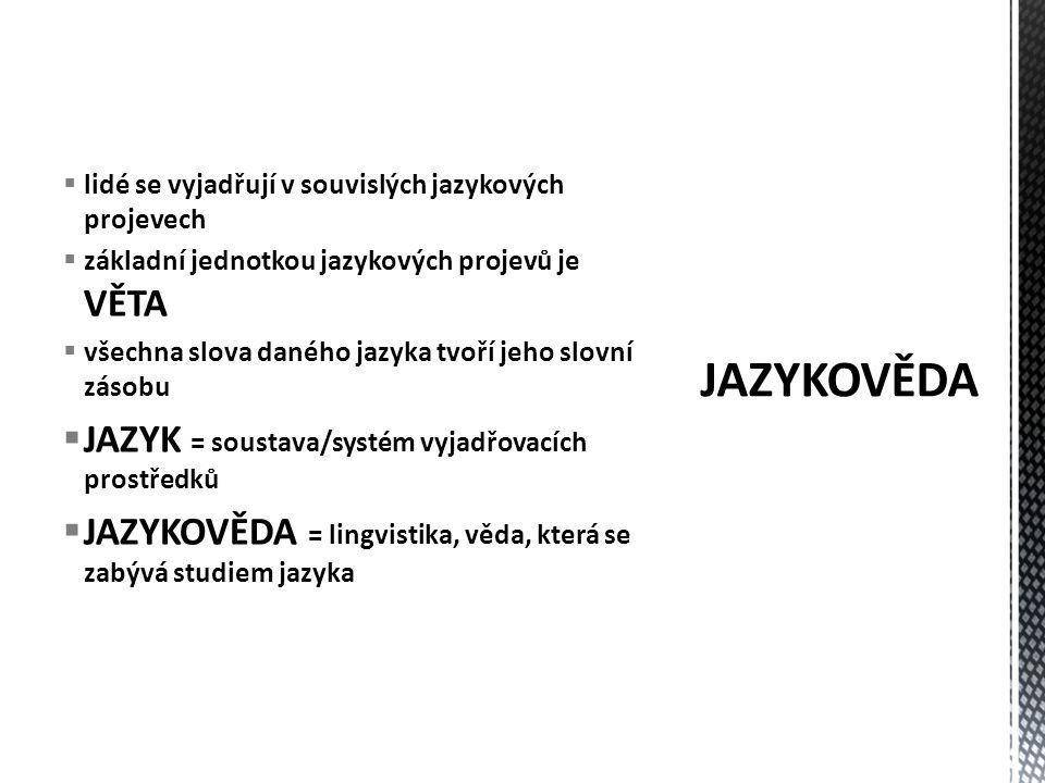 JAZYKOVĚDA JAZYK = soustava/systém vyjadřovacích prostředků