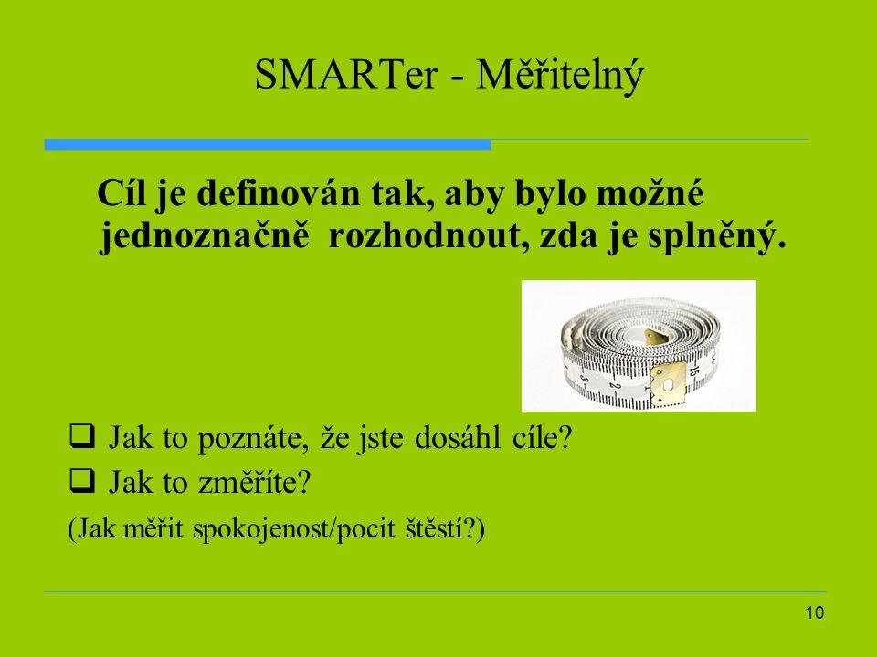 SMARTer - Měřitelný Cíl je definován tak, aby bylo možné jednoznačně rozhodnout, zda je splněný. Jak to poznáte, že jste dosáhl cíle