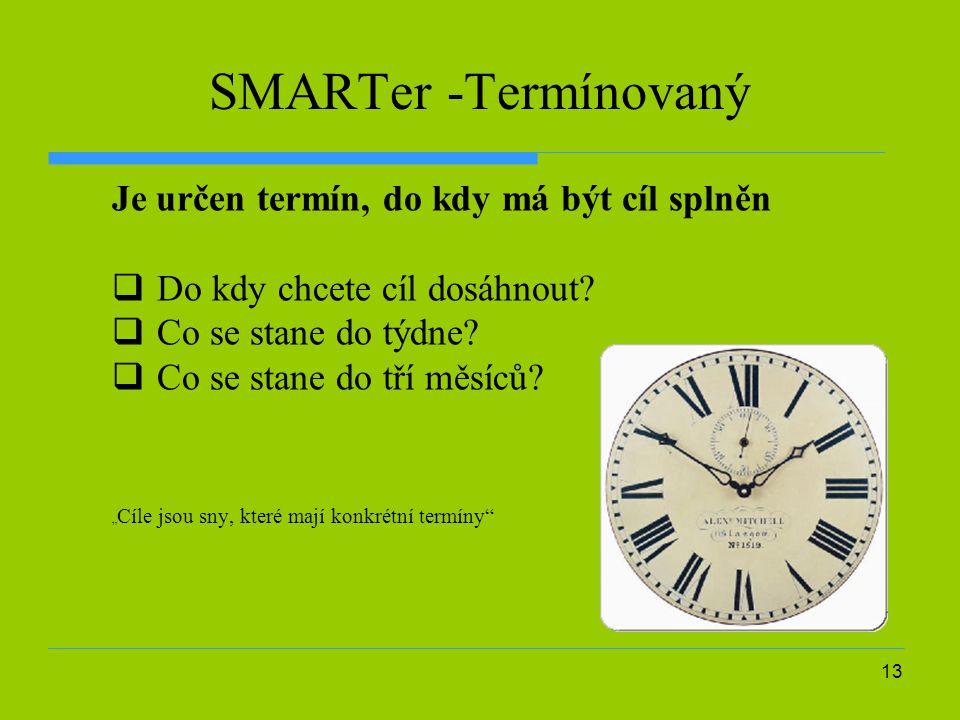 SMARTer -Termínovaný Je určen termín, do kdy má být cíl splněn
