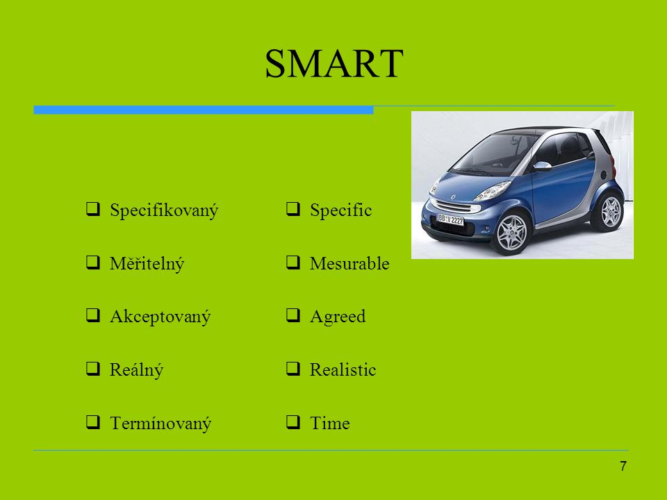 SMART Specifikovaný Měřitelný Akceptovaný Reálný Termínovaný Specific