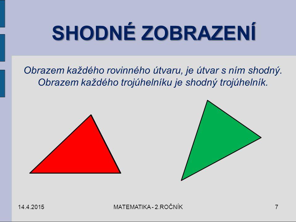 SHODNÉ ZOBRAZENÍ Obrazem každého rovinného útvaru, je útvar s ním shodný. Obrazem každého trojúhelníku je shodný trojúhelník.