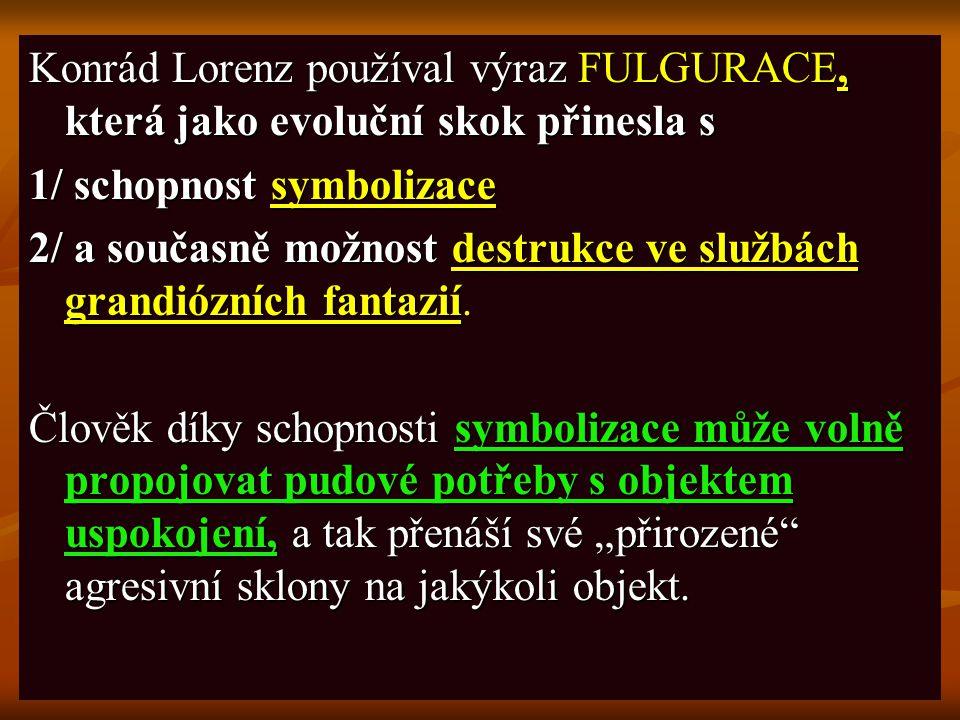 Konrád Lorenz používal výraz FULGURACE, která jako evoluční skok přinesla s