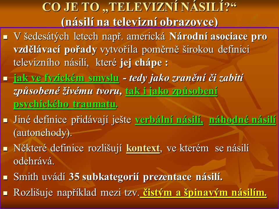 """CO JE TO """"TELEVIZNÍ NÁSILÍ (násilí na televizní obrazovce)"""