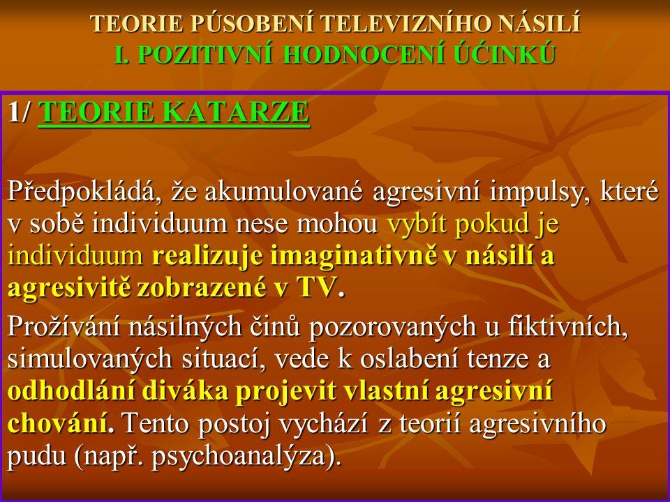TEORIE PÚSOBENÍ TELEVIZNÍHO NÁSILÍ I. POZITIVNÍ HODNOCENÍ ÚĆINKÚ
