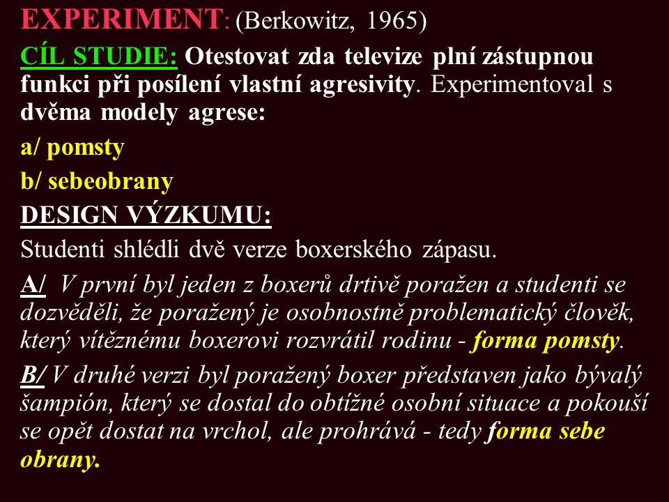 EXPERIMENT: (Berkowitz, 1965)