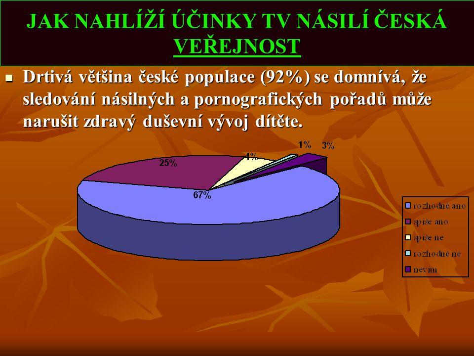 JAK NAHLÍŽÍ ÚČINKY TV NÁSILÍ ČESKÁ VEŘEJNOST