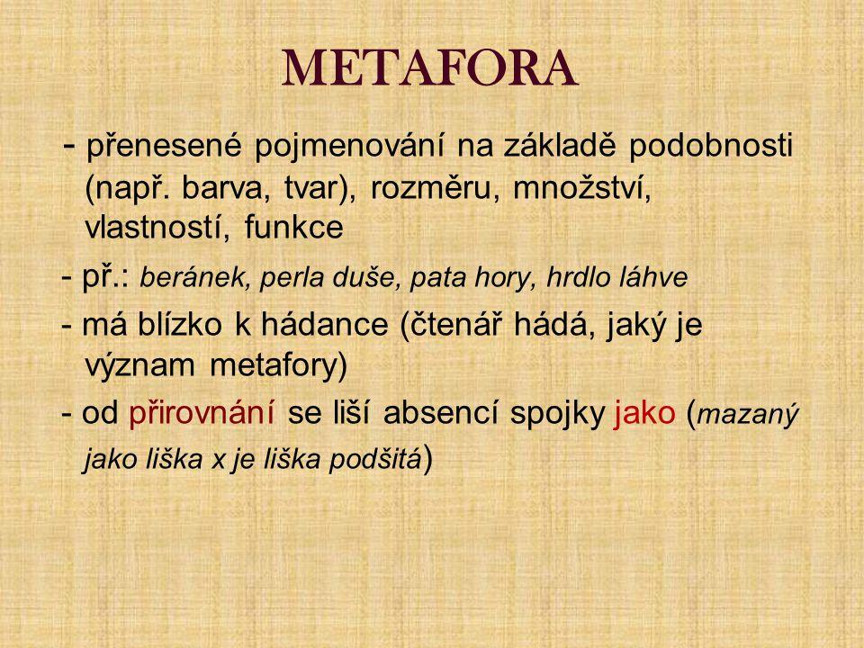 METAFORA - přenesené pojmenování na základě podobnosti (např. barva, tvar), rozměru, množství, vlastností, funkce.