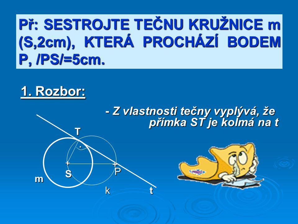 Př: SESTROJTE TEČNU KRUŽNICE m (S,2cm), KTERÁ PROCHÁZÍ BODEM P, /PS/=5cm.