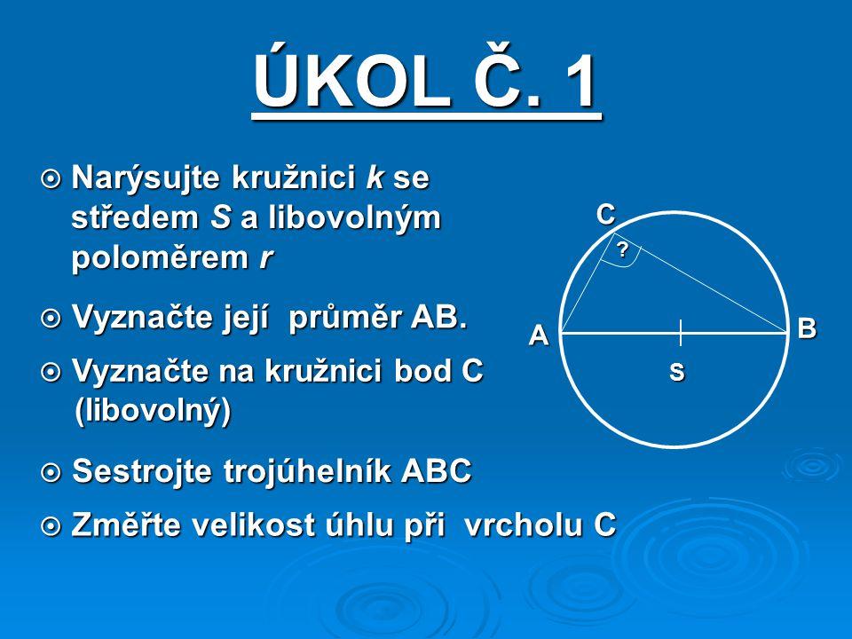 ÚKOL Č. 1 Narýsujte kružnici k se středem S a libovolným poloměrem r