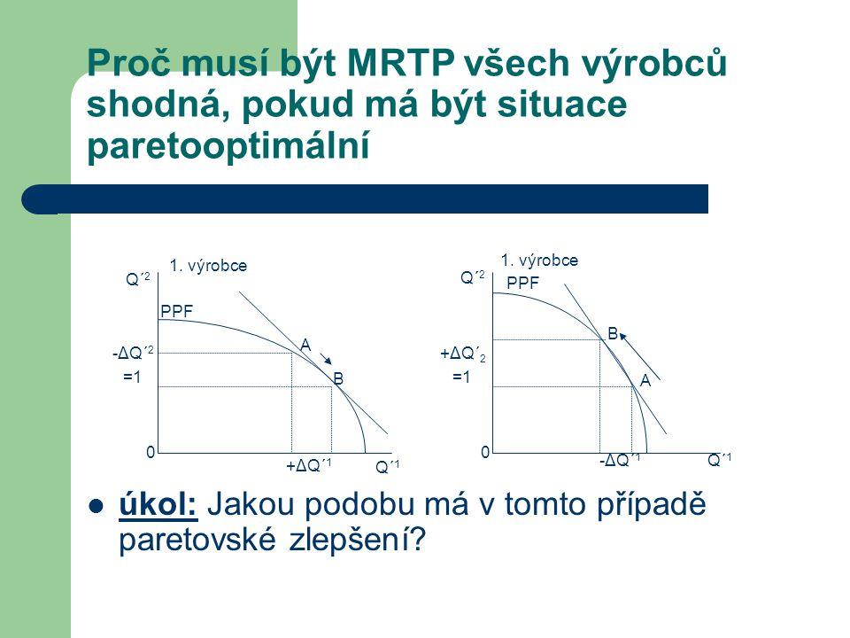 Proč musí být MRTP všech výrobců shodná, pokud má být situace paretooptimální