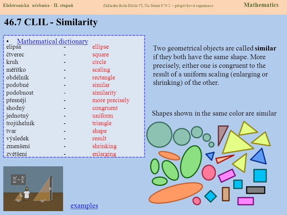 46.7 CLIL - Similarity Mathematical dictionary