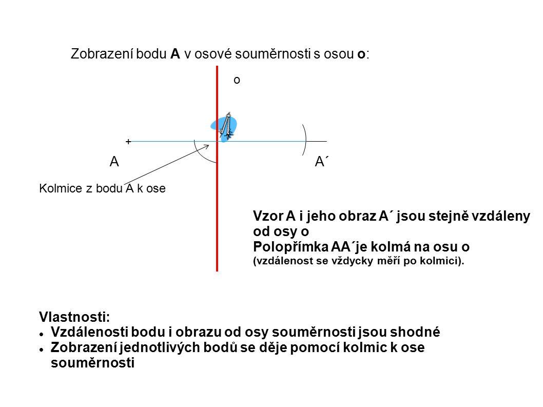 Zobrazení bodu A v osové souměrnosti s osou o: