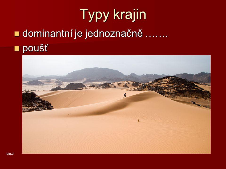 Typy krajin dominantní je jednoznačně ……. poušť Obr. 3