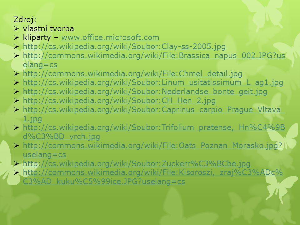 Zdroj: vlastní tvorba. kliparty – www.office.microsoft.com. http://cs.wikipedia.org/wiki/Soubor:Clay-ss-2005.jpg.
