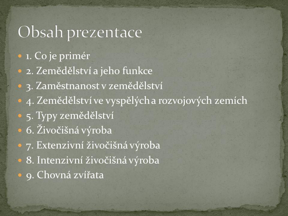 Obsah prezentace 1. Co je primér 2. Zemědělství a jeho funkce