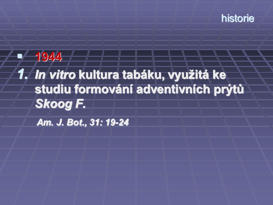 historie 1944. In vitro kultura tabáku, využitá ke studiu formování adventivních prýtů Skoog F.
