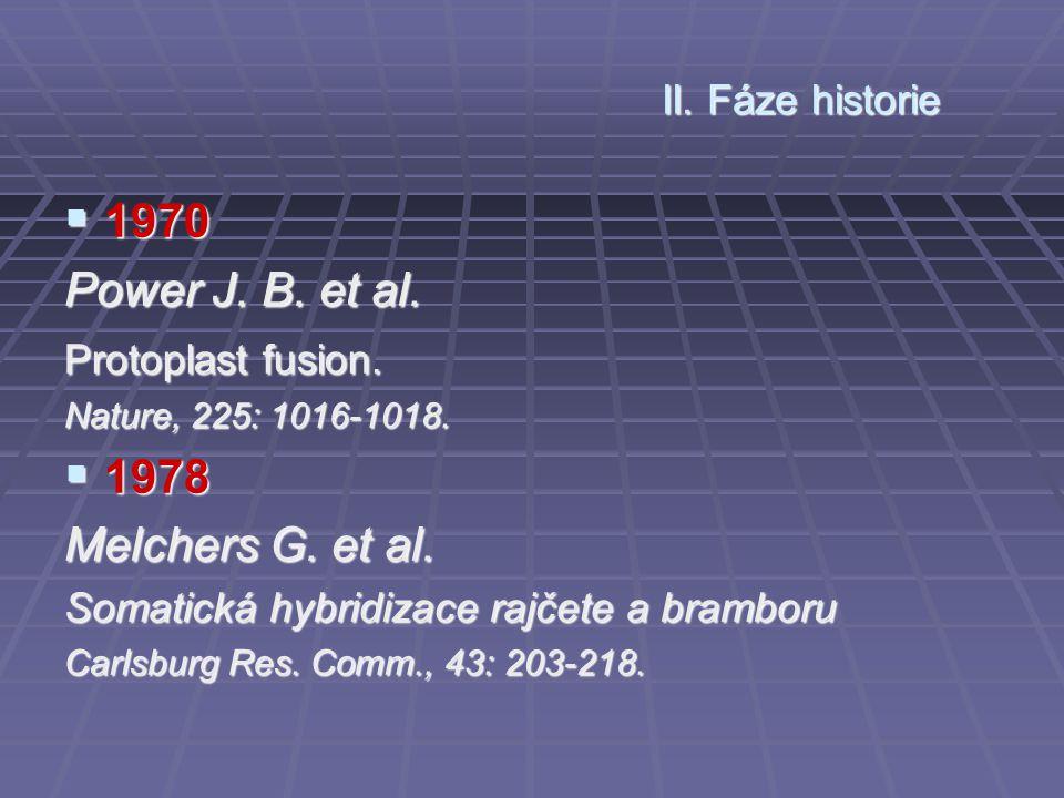 1970 Power J. B. et al. 1978 Melchers G. et al. II. Fáze historie