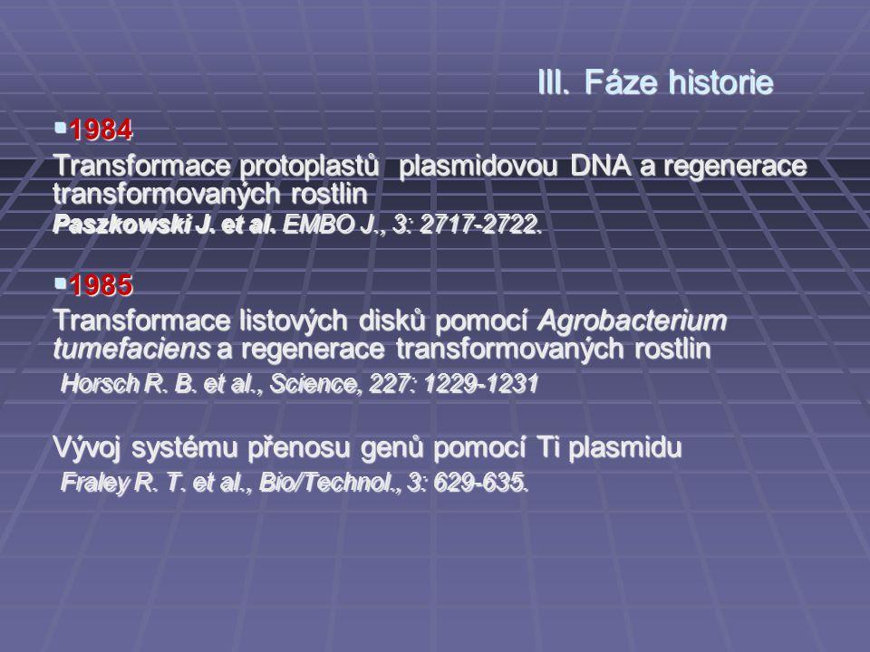 III. Fáze historie 1984. Transformace protoplastů plasmidovou DNA a regenerace transformovaných rostlin.