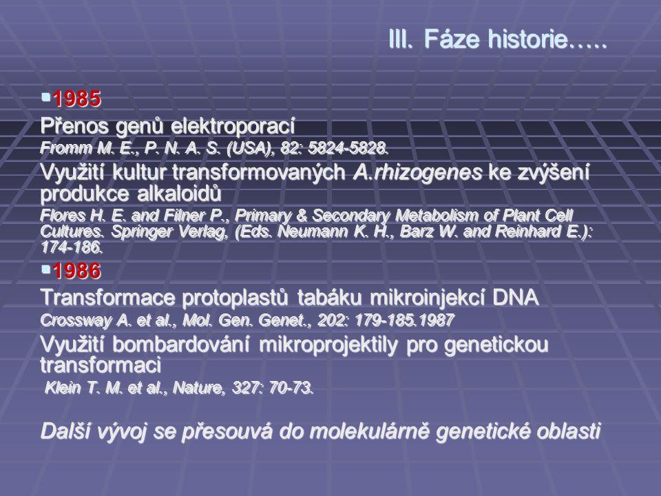 III. Fáze historie….. 1985 Přenos genů elektroporací