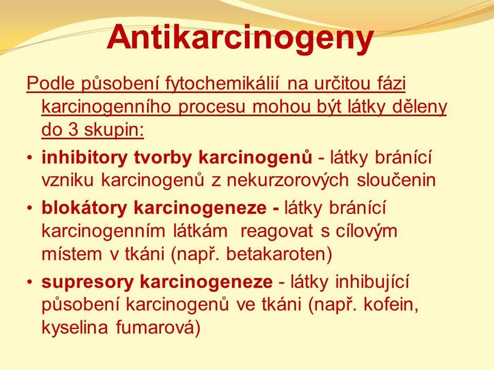 Antikarcinogeny Podle působení fytochemikálií na určitou fázi karcinogenního procesu mohou být látky děleny do 3 skupin: