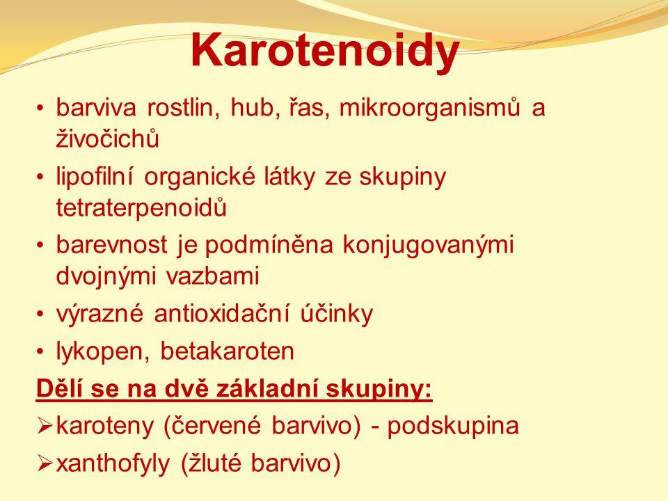 Karotenoidy barviva rostlin, hub, řas, mikroorganismů a živočichů