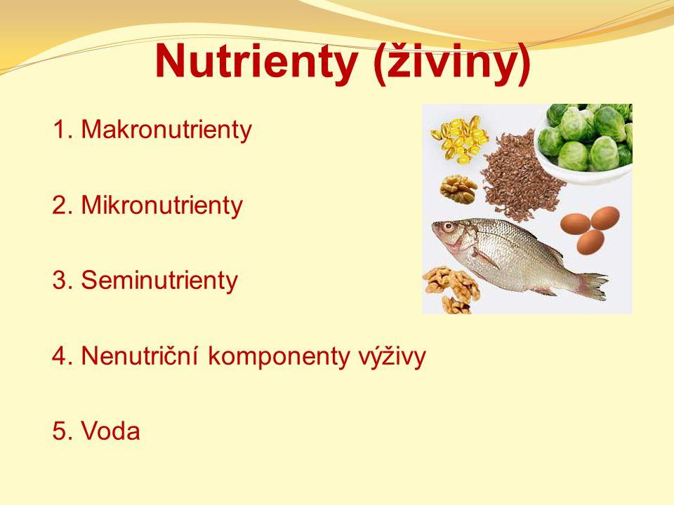 Nutrienty (živiny) 1. Makronutrienty 2. Mikronutrienty