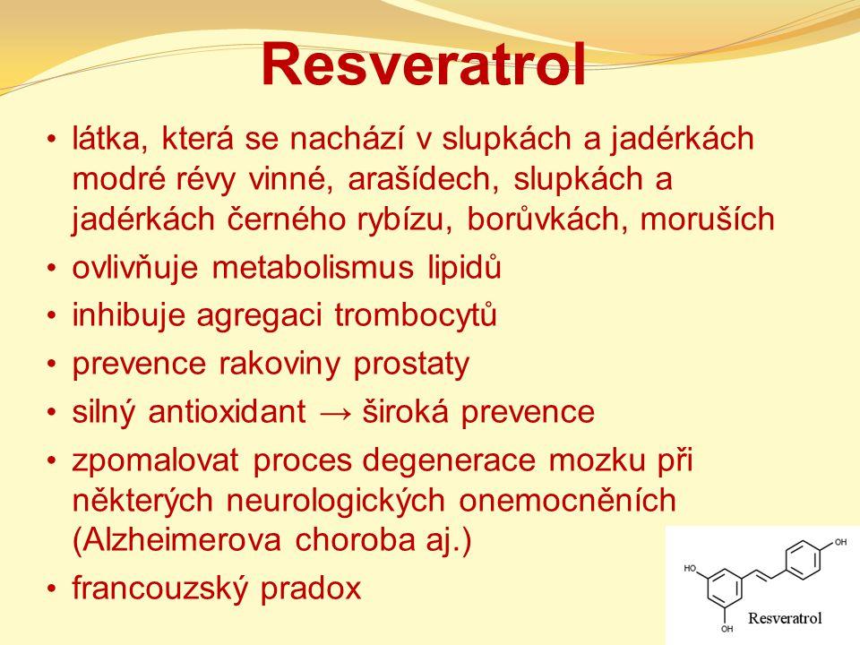 Resveratrol látka, která se nachází v slupkách a jadérkách modré révy vinné, arašídech, slupkách a jadérkách černého rybízu, borůvkách, moruších.